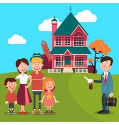 Happy family buying a new house real estate agent vector