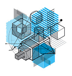 Abstract 3d shapes composition isometric vector