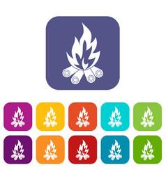 bonfire icons set flat vector image vector image