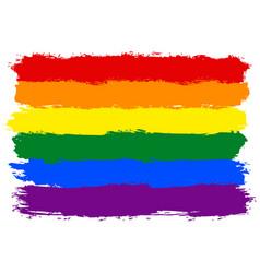 Brush stroke rainbow flag lgbt movement vector
