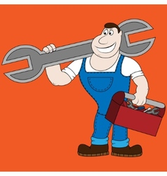Cartoon mechanic holding a huge wrench vector image