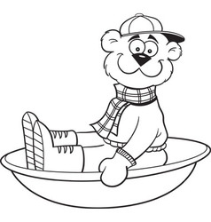 Cartoon teddy bear on a sled vector image