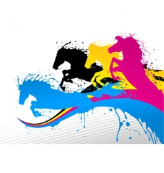 CMYK horse line vector image