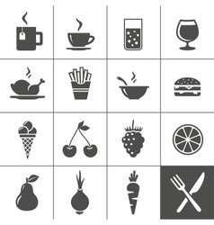 Food and drinks icon set simplus series vector