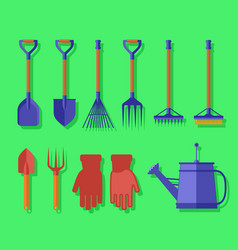 Garden isolated tools on green background vector