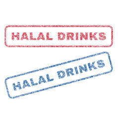 Halal drinks textile stamps vector
