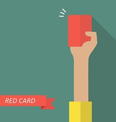 Hand of referee showing red card vector image