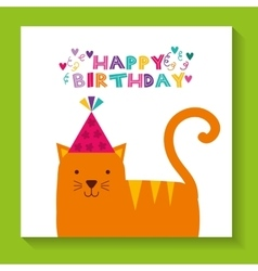 Happy birthday celebration card with cat vector