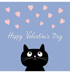 Hearts and cute cartoon cat Flat design style vector image vector image