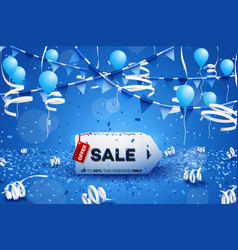 Hot winter sale banner paper 3d arrow conceptual vector