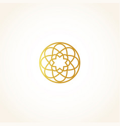 isolated abstract round shape golden color logo vector image
