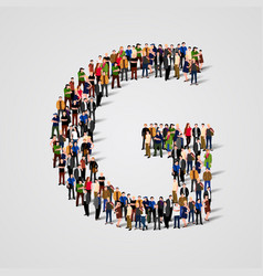 large group of people in letter g form vector image vector image