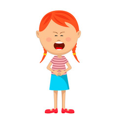 Little girl with severe stomach ache crying vector