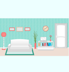 Living room interior including furniture and door vector
