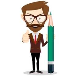 Man-teacher with a pencils stock vector