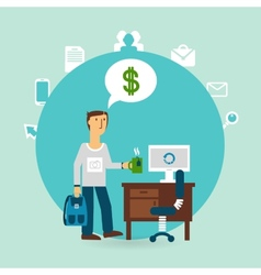 office worker thinking about money vector image vector image