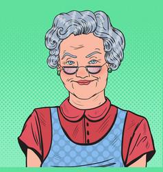 Pop art happy senior woman smiling vector