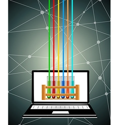 Science test tubes on computer screen vector