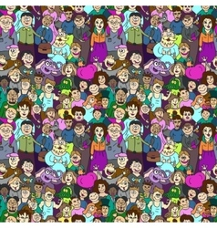 Seamless pattern of happy laughing people vector