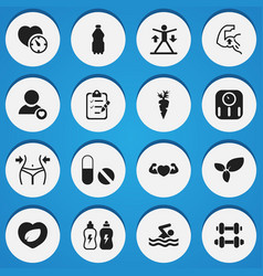 Set of 16 editable fitness icons includes symbols vector
