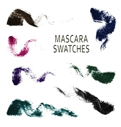 Set of 7 realistic mascara swatches vector
