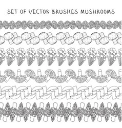 Set of borders brush mushrooms vector