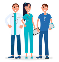 three physicians standing and smiling graphic vector image vector image
