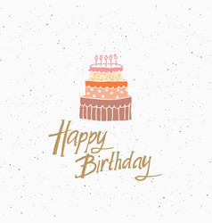 Vintage label hand drawn cake and birthday vector