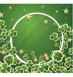 White circle frame with clovers for st patricks vector