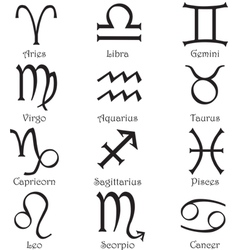Zodiac signs on a white background vector image vector image