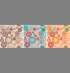 Clock cogwheels pattern set vector