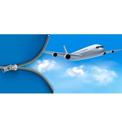 Travel background with airplane on blue sky vector