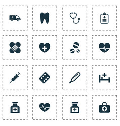 Antibiotic icons set collection of mercury drug vector