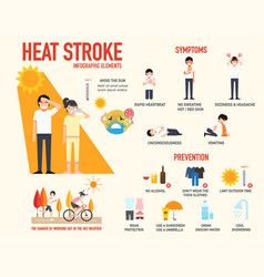 Heat stroke risk sign and symptom and prevention vector
