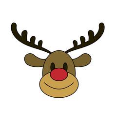 color image cartoon cute face reindeer animal vector image