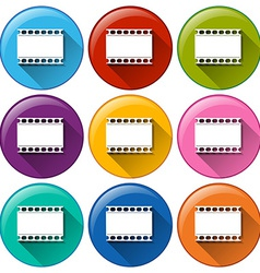 Round buttons with movie films vector