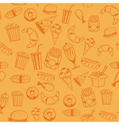 Fast Food seamless pattern for web menu cafe and vector image