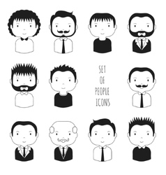 Set of monochrome male faces icons Funny cartoon vector image
