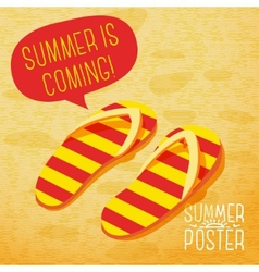 Cute summer poster - slippers on the beach with vector
