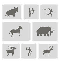 Icons with rock carvings and rock art vector