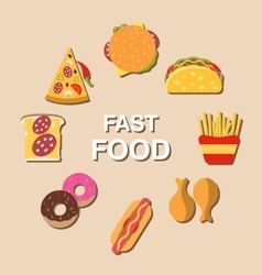Set fast food flat icons vector
