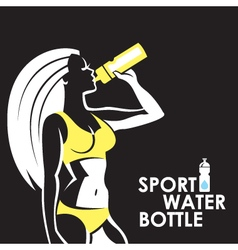 Girl with water bottle vector