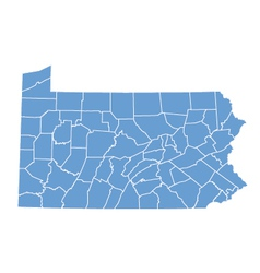 State map of pennsylvania by counties vector