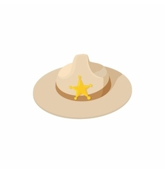 Sheriff hat icon cartoon style vector