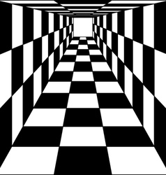 Abstract background chess corridor tunnel vector