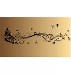 Abstract melody music notes and butterfly vector