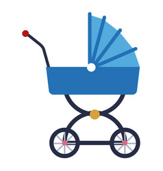 Blue baby carriage wheel decoration vector