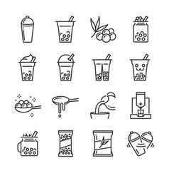 Bubble tea icon set vector