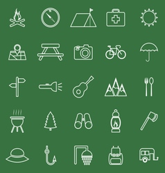 Camping line icons on green background vector image vector image