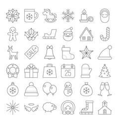 christmas icon collection thin line vector image